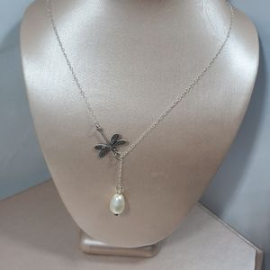 Jewelry - Nwot freshwater pearl & dragonfly necklace